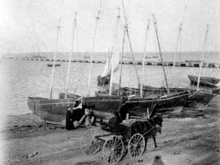 Embarcations de p�che sur le rivage de Caraquet vers 1910. Source : Archives provinciales du N.-B.