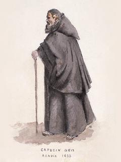 Capucin gris Acadie 1633, aquarelle Artiste : Henri Beau Source : Biblioth�que et Archives Canada / 51336